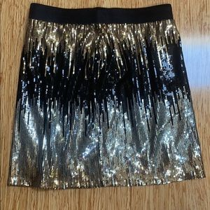 Gold, black, and silver sequins mini skirt